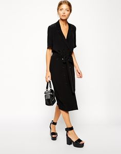 This shirt dress is just stunning. I'd wear it for work, then dress it up with red lipstick and red nail polish for a date. Find it here:  http://asos.to/1vkrliz