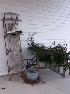 Sled-wagon for front porch | Christmas