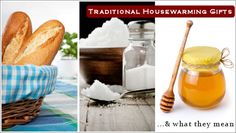 Traditional housewarming gifts, and what they mean. I think a gift basket with all of these things, and a beautifully printed card explaining their symbolism would make a lovely gift! Housewarming Basket, Best Housewarming Gifts, Homemade Gifts, Diy Gifts, Traditional Housewarming Gifts, Good Cheer, Creative Gifts, Party Gifts, Gift Baskets