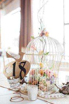 Love bird themed wedding.  Shabby Chic...so cute!