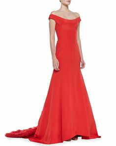 Lela Rose - Off-the-Shoulder Gown with Ruffled Train, Persimmon