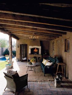 Traditional Exterior Design, Pictures, Remodel, Decor and Ideas for Dream Home Style At Home, Outdoor Rooms, Outdoor Living, Indoor Outdoor, Exterior Tradicional, Rustic Outdoor, Outdoor Decor, Rustic Patio, Cozy Patio