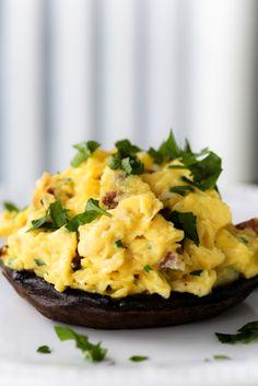 Recipe: Portobello Mushrooms Stuffed with Scrambled Eggs