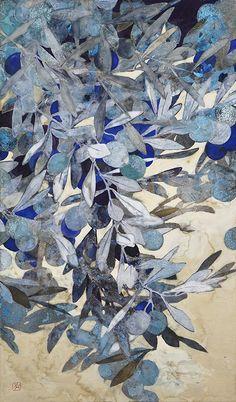 Japanese Art Styles, Japanese Art Modern, Japanese Artwork, Japanese Painting, Bullet Journal Design Ideas, Blue Artwork, Art File, Japan Art, Botanical Art