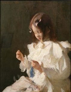 Portrait of a Child Sewing  by Frank Benson