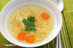 The real homemade broth. Many people remember its taste very well, especially of the one cooked by a grandmother. because only grandmothers have enough time to prepare the real chicken broth Polish Chicken Soup Recipe, Polish Soup, Chicken Broth Soup, Chicken Soup Recipes, Hungarian Cuisine, European Cuisine, Hungarian Recipes, Polish Recipes, Diet