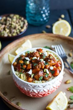 One Pot Moroccan Chicken + Chickpeas with Pistachio Couscous and Goat ...