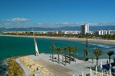 Photo about Salou - view of the seaside in sunny morning. Image of sunny, travel, buildings - 9386188 Us Travel, Places To Travel, Places To Visit, Salou Spain, Barcelona Catalonia, Spain Holidays, Adventure Is Out There, Beach Resorts, Seaside