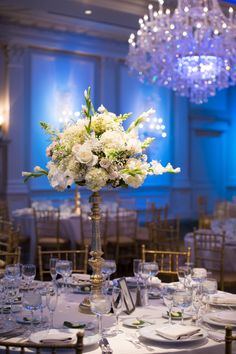 Classic Tall Hydrangea and Gladiola Centerpieces