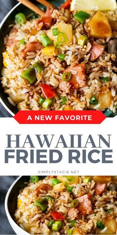 Hawaiian Fried Rice - Fried rice with pineapple may sound strange, but after you try this recipe, you'll see that it just works! It's made with big chunks of ham and pineapple, veggies and an addicting sweet and sour sauce. Authentic Chinese Recipes, Easy Chinese Recipes, Asian Recipes, Healthy Recipes, Yummy Recipes, Ethnic Recipes, Hawaiian Fried Rice, Pineapple Fried Rice, Recetas Crock Pot