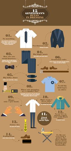 15 Gentleman's Rules in Dressing #infographic #Fashion #LifeStyle