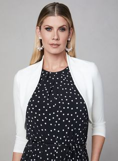 ¾ Sleeve Jersey Bolero, Off White, hi-res