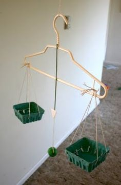 """Homemade balance scale - what a cool way to introduce the concept and allow the kids to explore """"What makes this work?"""""""