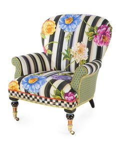 H87VA MacKenzie-Childs Cutting Garden Accent Chair