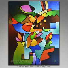 "Giclee print on stretched canvas from my modern abstract cubist still life painting ""Leaf and Vase"". Geometric art, cubism, abstract still life. Cubist Paintings, Cubist Art, Original Paintings, Modern Paintings, Watercolour Paintings, Geometric Painting, Geometric Art, Abstract Art, Still Life Art"