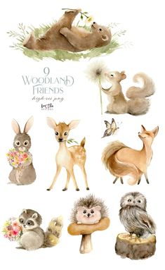 Illustration Mignonne, Cute Illustration, Watercolor Illustration, Watercolor Art, Woodland Illustration, Forest Animals, Woodland Animals, Animals Watercolor, Baby Animals