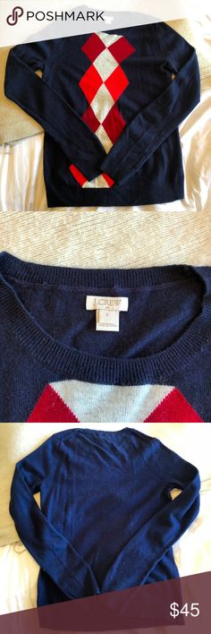 J. Crew Navy Blue Argyle Sweater - NWOT Navy blue argyle sweater from J. Crew. Never worn, has been sitting in my closet. True to size. Material & care details in photos. J. Crew Sweaters