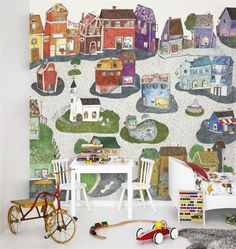 Beautiful illustrative wallpaper ideal for a childs play area.  #art #wallpaper #illustration #mural # surfacedesign #pattern #texture