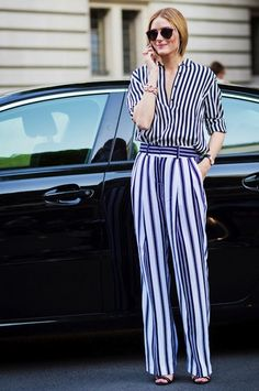 Stripes on stripes for a bold but easy, cool statement. #Fashion #Stripes
