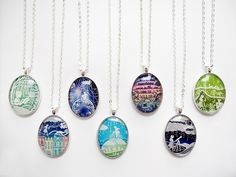 Papercut illustration necklaces - lots of designs to choose from! Original papercut illustrations by Sarah Trumbauer Available for purchase on Etsy!