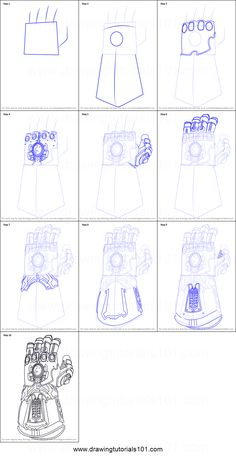 How to Draw The Infinity Gauntlet from Avengers - Infinity War step by step printable drawing sheet to print. Learn How to Draw The Infinity Gauntlet from Avengers - Infinity War Easy Cartoon Drawings, Pencil Art Drawings, Easy Drawings, Avengers Drawings, Drawing Superheroes, Easy Doodle Art, Doodle Art Designs, How To Draw Avengers, Iron Man Hand