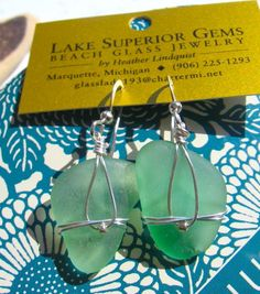 Sweet Sea Foam Lake Superior Beach Glass Earrings by beachglass46, $22.99
