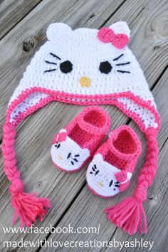 Crochet Kitty Cat Booties by MadeWithLoveCba on Etsy