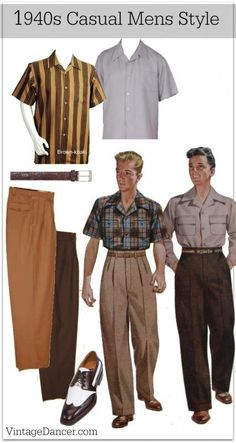 1940s Men\'s Casual Fashion idea. Lounge shirt, wide pants, shoes and a belt. Get the look at VintageDancer.com