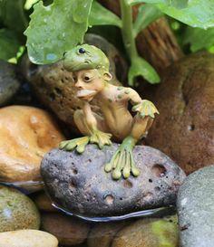 OOAK elf sculpture polymer clay art doll frog boy by Feythcrafts