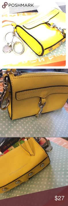 """Mini Zip Top Key Ring Pouch Rebecca Minkoff Yellow Card Holder/Coin Pouch, approx 3"""" across, 2"""" Height, 3/4"""" thick, Zip TOP, yellow leather, 100% authentic Rebecca Minkoff Bags Wallets"""
