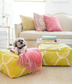 Can you believe these plush ottomans are DIY?