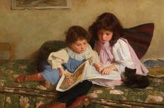 Carlton Alfred Smith, 1853 – 'The Young Readers' Reading Art, Girl Reading, Children Reading, Art Children, Reading Time, Believe In God, Illustrations, Cute Illustration, Female Art
