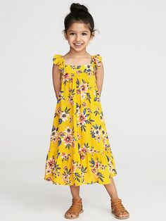 Old Navy Printed Ruffle-Strap Sundress for Toddler Girls Toddler Girl Style, Toddler Girl Dresses, Little Girl Dresses, Toddler Outfits, Kids Outfits, Toddler Girls, Girls Frock Design, Kids Frocks Design, Kids Dress Patterns