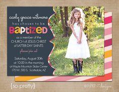 LDS Baptism Photo Invitation (Digital or Printed)- So Pretty via Etsy