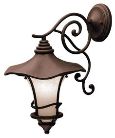 "Kichler Weathered Bronze 19""  Down Mount Outdoor Wall Light -"