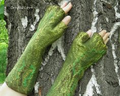 Woodland fairy felted wool mittens. Long arm warmer by Crafts2Love