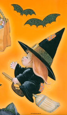 quenalbertini: Cute little witch by Ruth Morehead - Halloween Stickers Clings Vintage Halloween Cards, Retro Halloween, Halloween Clipart, Halloween Stickers, Happy Halloween, Halloween Rocks, Easy Halloween Crafts, Holidays Halloween, Halloween Painting