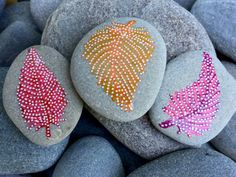 rock magnets set / feathers on stones / painted by LoveFromCapeCod