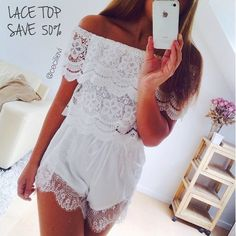SnapWidget | SALE!! Lace top in white - SAVE 50%  Go check our other sale items online #AD #americandreams