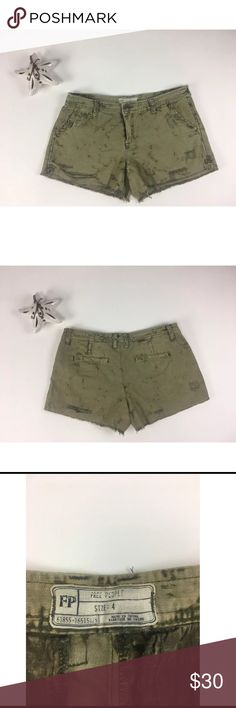 Free People  Green  Distressed Cutoff  Shorts 4 Free People Cut Off Shorts Camo distressed Frayed Army Green Shorts Size 4. No major flaws or defects .  Measurements Waist 31 inches Hips 36 inches Rise 7.5 inches Inseam 3 inches   100% Cotton Free People Shorts