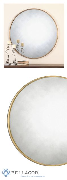 This antique style mirror has a narrow metal frame and features an antique gold finish. http://www.bellacor.com/productdetail/uttermost-13887-junius-round-gold-round-mirror-1571430.htm?partid=social_pinterestad_1571430
