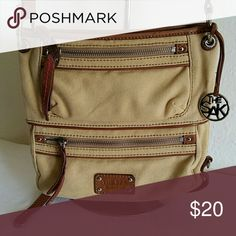 The Sak crossbody Tan cloth material crossbody with 3 zipper pockets The Sak Bags Crossbody Bags