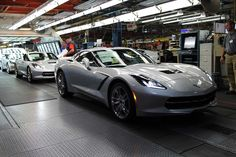 generalmotorsmotorama:  2014 Chevrolet Corvette C7 Stingrays rolling off the line at GM Bowling Green Assembly.