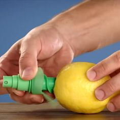Add a fresh mist of citrus to your food with this innovative, pair of Citrus Sprayers that effectively turn the fruit of your choice into a spray bottle! To use, simply twist the spiral shaped spray mechanism down into the peeled top of the fruit.