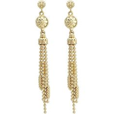 LAGOS Caviar Tassel Drop Earrings (6.550 RON) ❤ liked on Polyvore featuring jewelry, earrings, gold, 18k gold earrings, yellow gold earrings, beaded tassel earrings, gold stud earrings and cluster earrings
