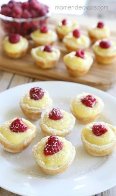 21 Puff Pastry Recipes That Will Make Every Meal A Party Lemon Cream Raspberry Mini Pies Small Desserts, Bite Size Desserts, Lemon Desserts, Lemon Recipes, Tart Recipes, Mini Desserts, Just Desserts, Delicious Desserts, Mini Dessert Recipes