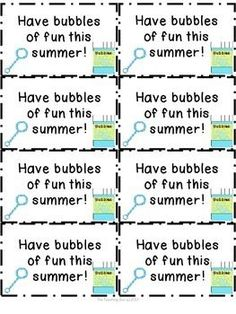 """{Freebie} End of Year Summer Bubbles of Fun TagsAttach the cute summer tags to bubbles (I used bubble wands) and give to your students as an end of the year gift! Enjoy!For more great freebies, products and updates, please click above to """"Follow Me""""."""