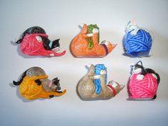 Kinder Surprise Set - Cute Frisky House Cats - Complete Series Vintage Figures Figurines Toys Eggs Miniatures Collectibles