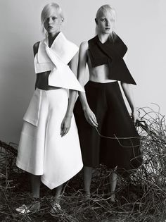 """In the Fold"", Harleth Kuusik and Maja Salamon by Josh Olins for Vogue UK, February 2014"