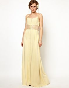 Enlarge Jarlo Maxi Dress with Lace Inserts and Button Detail